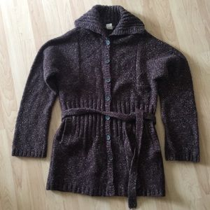 J. Crew long belted wool blend cardigan sweater L